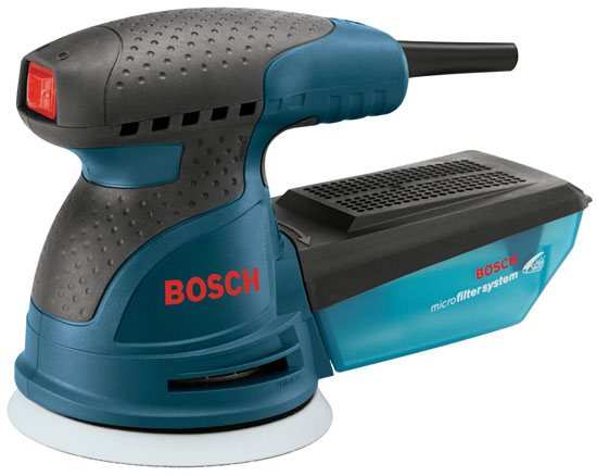 'Bosch ROS20VSC 5-Inch Random Orbit Sander' from the web at 'http://toolguyd.com/blog/wp-content/uploads/2014/02/Bosch-ROS20VSC-5-Inch-Random-Orbit-Sander.jpg'