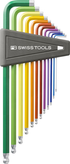 PB Swiss Color Coded Inch Ball Hex Key Set