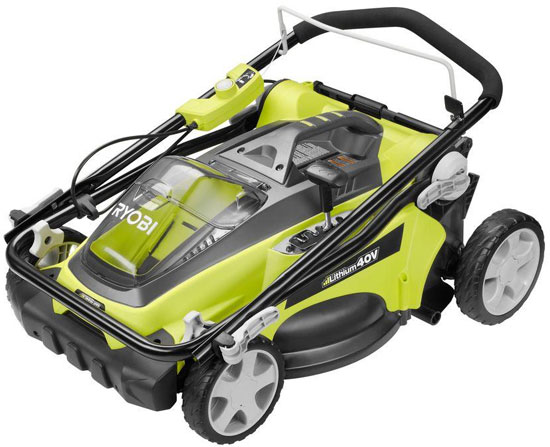 Ryobi 40V Lawn Mower Folded for Storage