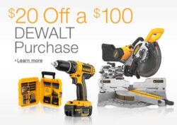Amazon Dewalt 20 off 100 Promo