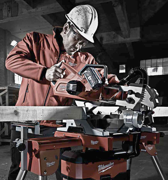 Milwaukee M18 Cordless Miter Saw in Use