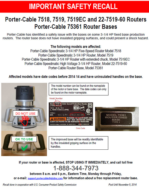 Porter Cable Router Recall Notice