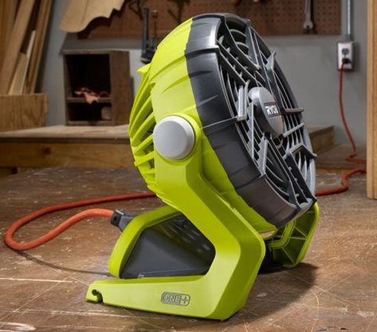 Ryobi 18V Fan Plugged into Outlet
