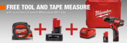 Milwaukee M12 Kit Promo: Free Tool or Battery and Tape Measure!