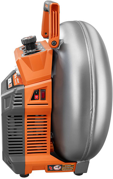 Ridgid Vertical Pancake Air Compressor Side