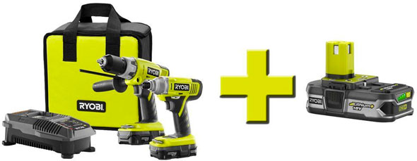 Ryobi 18V One+ Drill Impact and Battery Special Bundle