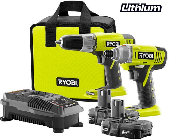 deal ryobi 18v one drill impact driver combo for 99. Black Bedroom Furniture Sets. Home Design Ideas