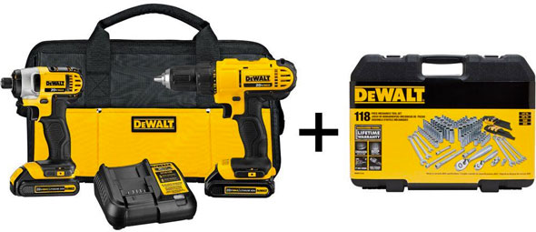 Dewalt 20V Max Cordless Combo and Mechanics Tool Set Bundle