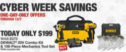 Cyber Monday Deal: Dewalt 20V Max Drill, Impact Driver, and Mechanics Tool Set Bundles