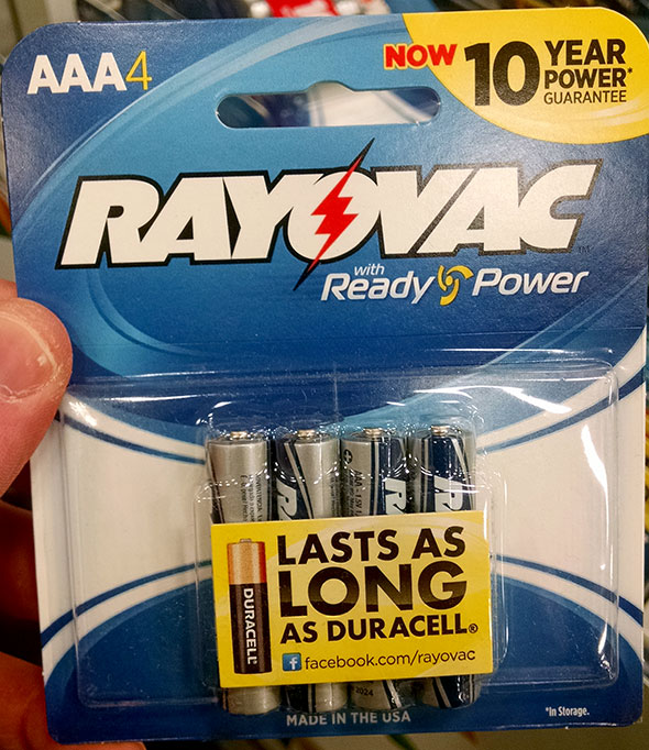 Rayovac AAA 4-Pack Batteries Front