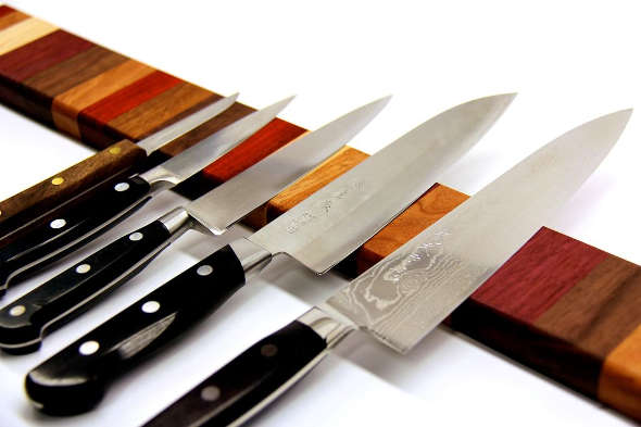 Magntic strip knife storage