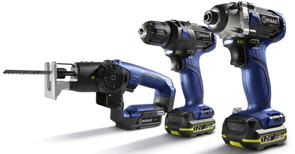 deal: kobalt 12v max drill, impact driver, saw combo for $50