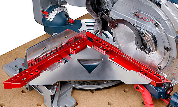 Woodpeckers MFT Square One Time Tool Used with Miter Saw