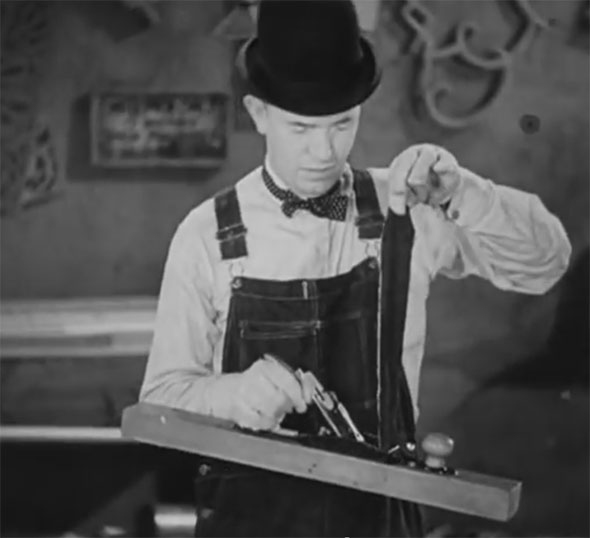 Laurel and Hardy Busy Bodies Bench Plane Pants Rip