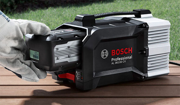 new bosch cordless lawn mower is powered by one or two 36v. Black Bedroom Furniture Sets. Home Design Ideas