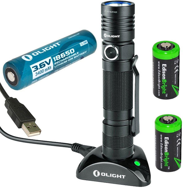 Olight S30R Rechargeable LED Flashlight with Charging Stand and Batteries