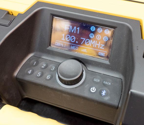 Dewalt ToughSystem Bluetooth Radio Controls and Display