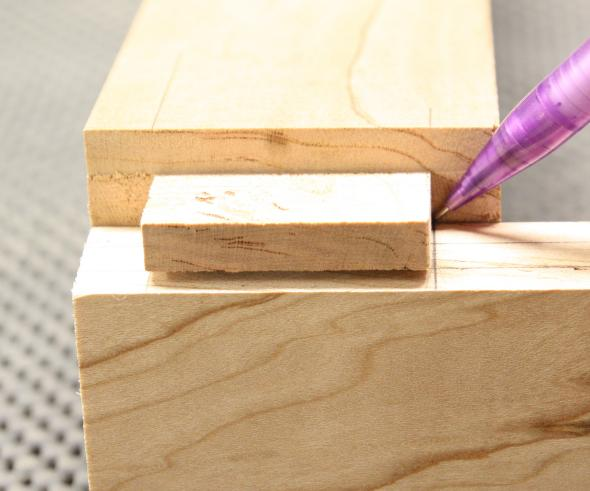 Marking the mortise with the matching tenon
