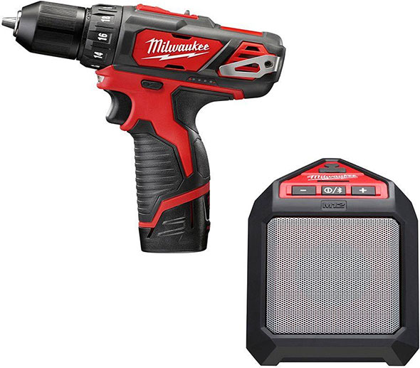 Milwaukee 2407-22B M12 Drill and Bluetooth Speaker Deal
