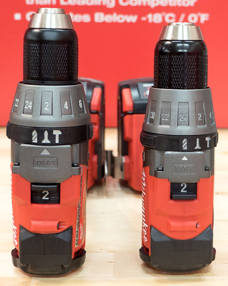 Milwaukee 2704 vs 2604 M18 Fuel Brushless Hammer Drill Length Comparison