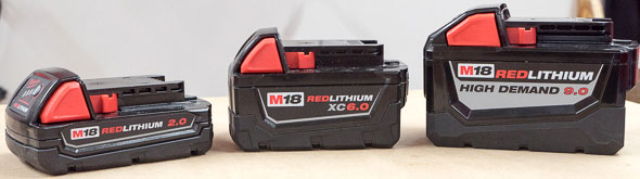 Milwaukee M18 Compact vs XC vs High Demand Battery Size