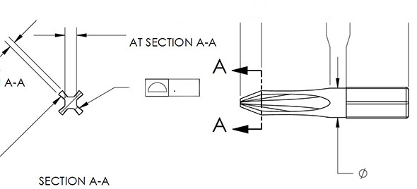 Knife Edge Phillips Screwdriver Bit Diagram