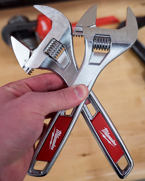 'Milwaukee Adjustable Wrench Wide vs Standard Comparison' from the web at 'http://toolguyd.com/blog/wp-content/uploads/2015/07/Milwaukee-Adjustable-Wrench-Wide-vs-Standard-Comparison.jpg'