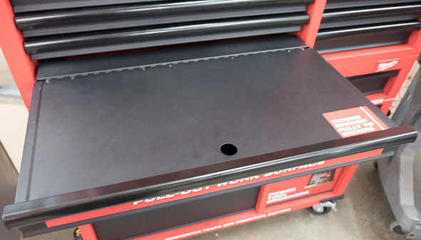 Milwaukee Ball Bearing Tool Storage Pull-Out Work Surface Closed