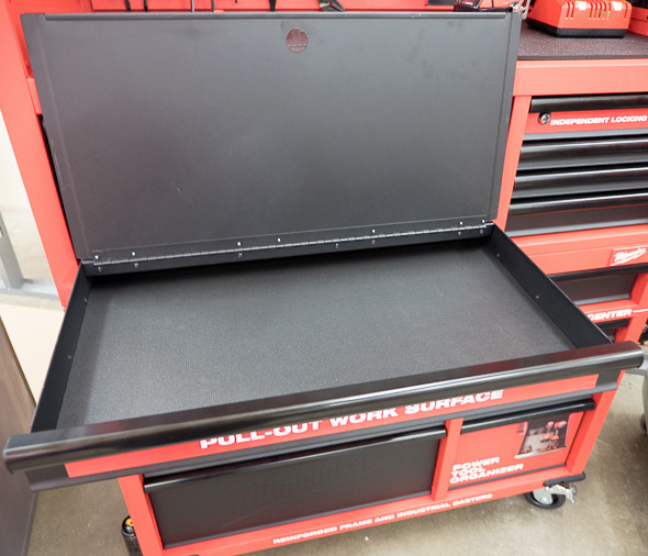 Milwaukee Ball Bearing Tool Storage Pull-Out Work Surface Open