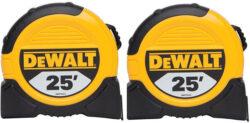 Back in Stock: 2 Dewalt 25-foot Tape Measures for $15
