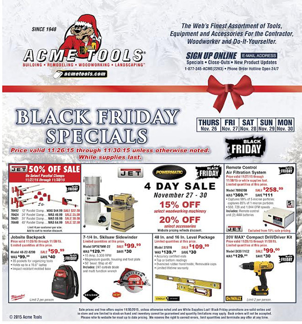 Acme Tools Black Friday 2015 Flyer Page 1