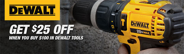 Dewalt 25 off 100 Holiday 2015 Promo