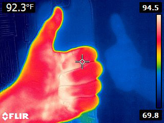Flir E4 Thermal Image with Ghost Thumbs up Hand