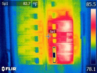Flir E60 Thermal Image of Circuit Breaker Panel Rainbow Palette