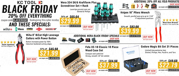 KC Tool Black Friday and Cyber Monday 2015 Tool Deals