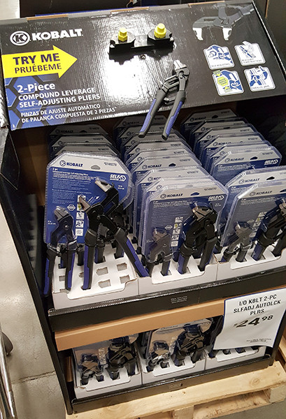 Kobalt Compound Leverage Self-Adjusting Pliers Display Lowes Holiday 2015