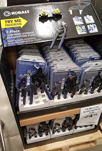Kobalt Compound Leverage Self-Adjusting Pliers Display Lowes Holiday 2015