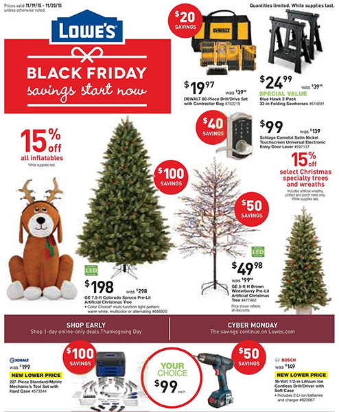 Lowes Black Friday Pre-Sale Page 1