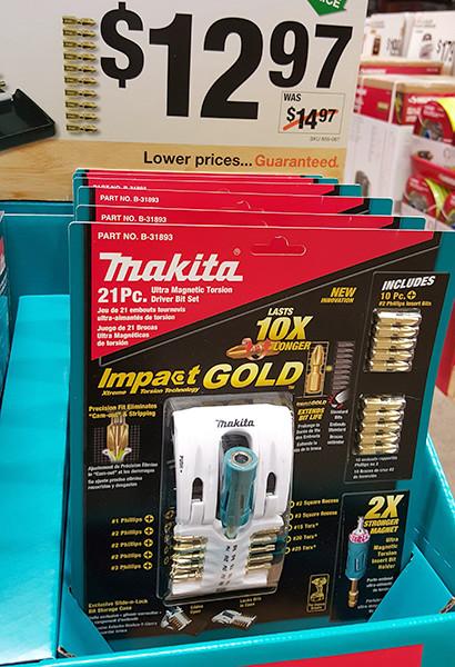 makita impact gold impact driver screwdriver bit set home depot holiday 2015 - Home Depot Holiday