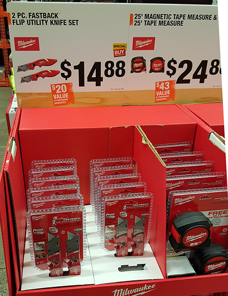 Milwaukee FastBack and Magnetic Tape Measure Display Home Depot Holiday 2015