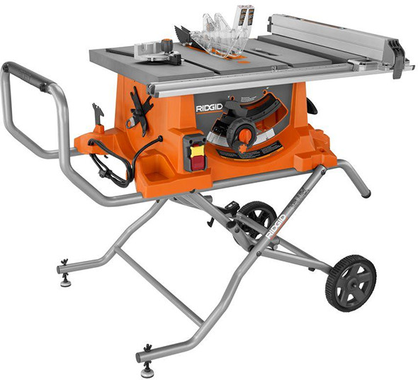 Ridgid R4513 Portable Table Saw with Roller Stand