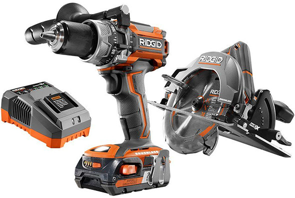 Ridgid R9206 Brushless Hammer Drill and Circular Saw Combo Kit