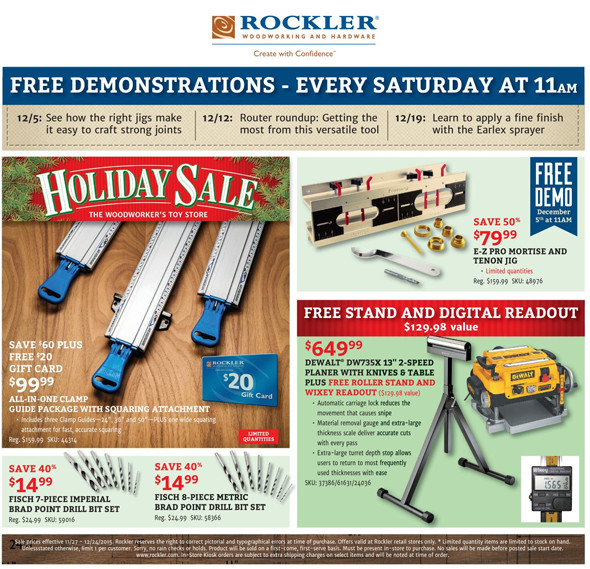 Rockler Black Friday 2015 Tool Deals Page 14