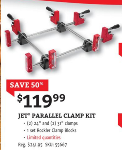 Rockler Jet Parallel Clamp Black Friday 2015 Deal