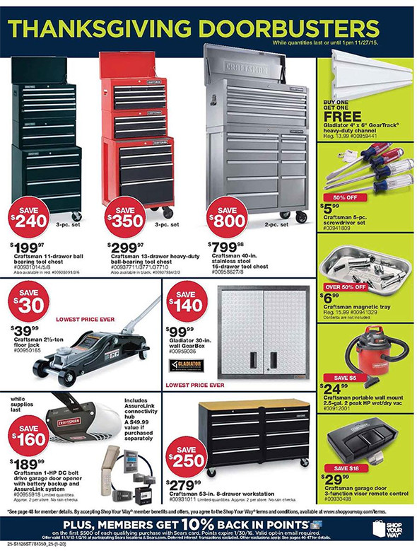 Sears Black Friday 2015 Tool Deals