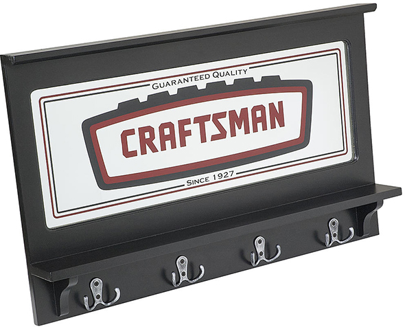 Craftsman Garage Mirror with Coat Hooks