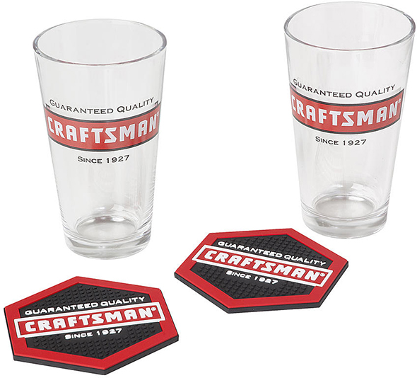 Craftsman Pint Glass and Coaster Set