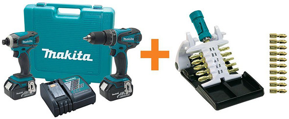 Makita Hammer Drill Impact Driver and Bit Set Bundle