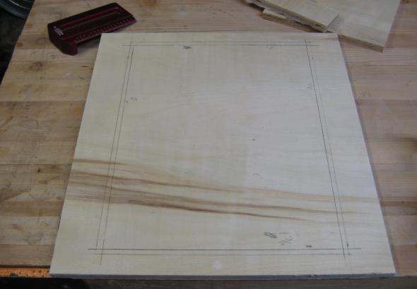 Using the Saddle Square to mark the location of the glass.