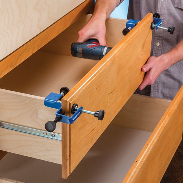 Rockler Drawer Front Installation Clamps in Action